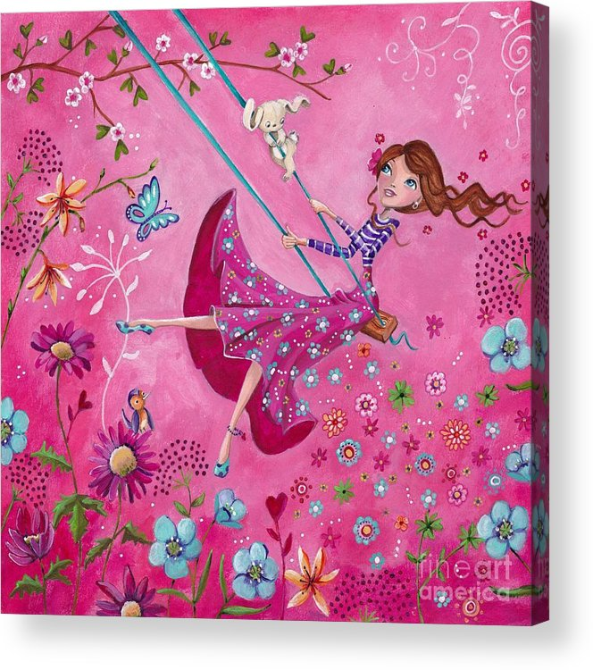 Cartita Design Acrylic Print featuring the painting Swing Girl by Caroline Bonne-Muller