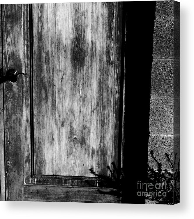 Digital Black And White Photo Acrylic Print featuring the digital art The Back Door Bw by Tim Richards