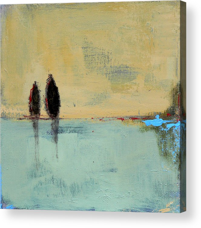 Abstract Landscape Acrylic Print featuring the painting Two Lovers On The Line by Jacquie Gouveia