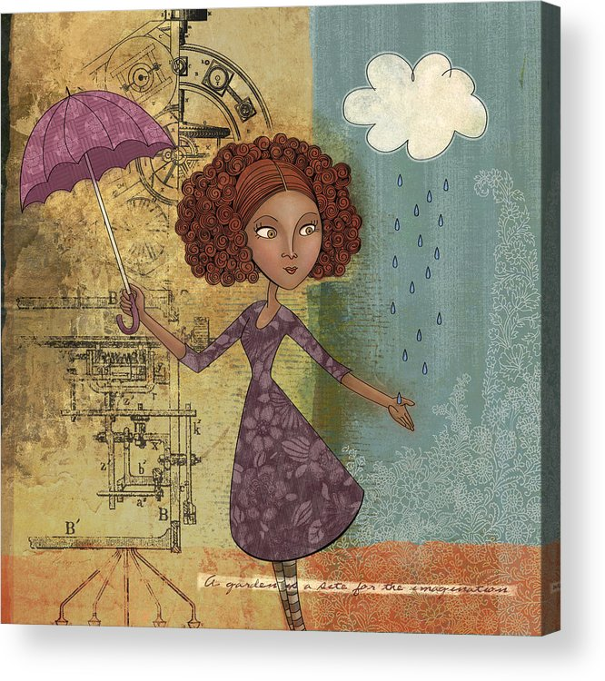 Girl Acrylic Print featuring the drawing Umbrella Girl by Karyn Lewis Bonfiglio