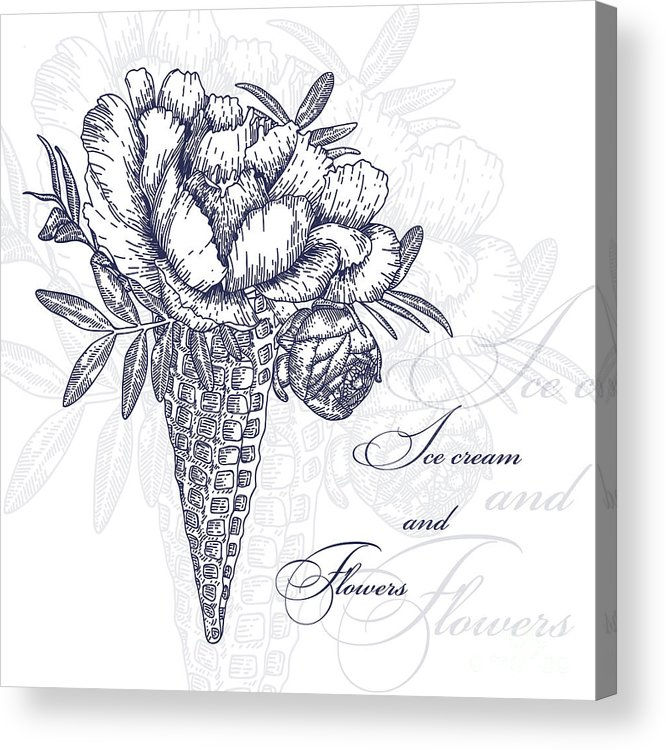 Engraving Acrylic Print featuring the digital art Vector Flowers In Waffle Cone. Bouquet by Innakote