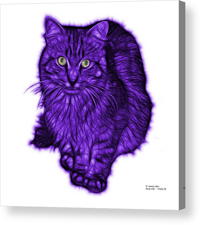 Cat Acrylic Print featuring the digital art Violet Feral Cat - 9905 Fs by James Ahn