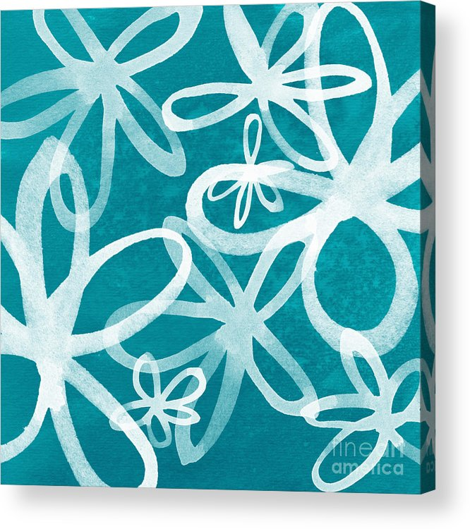 Large Abstract Floral Painting Acrylic Print featuring the painting Waterflowers- Teal And White by Linda Woods