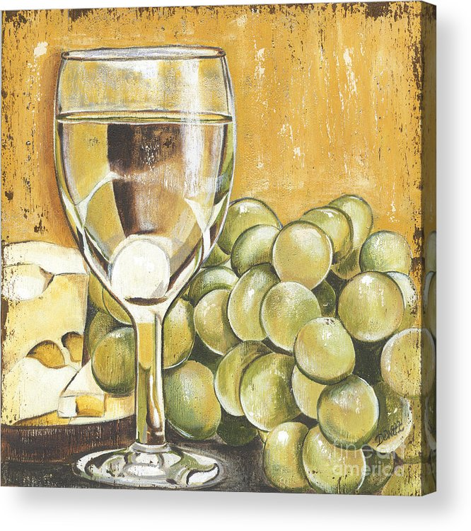 White Wine Acrylic Print featuring the painting White Wine And Cheese by Debbie DeWitt