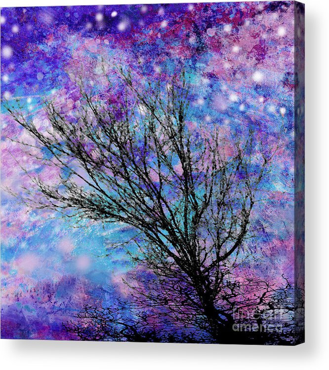 Starry Acrylic Print featuring the digital art Winter Starry Night Square by Ann Powell