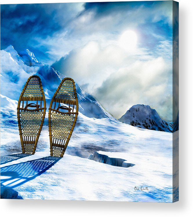 Winter Acrylic Print featuring the photograph Wooden Snowshoes by Bob Orsillo
