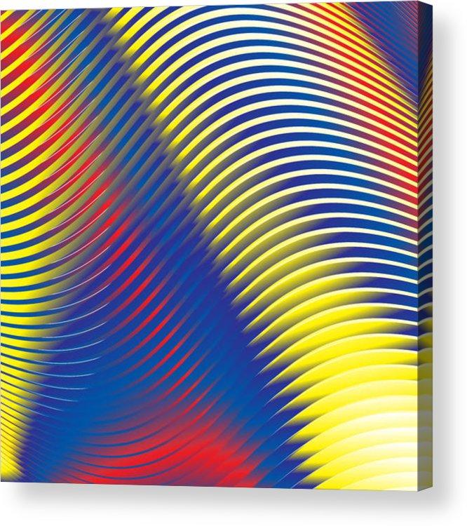 Multi-colored Acrylic Print featuring the digital art Blue Stripes No. 15 by Alan Bennington