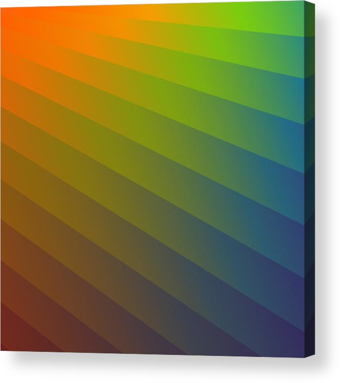 Multi-colored Acrylic Print featuring the digital art Rainbow Waves by Alan Bennington