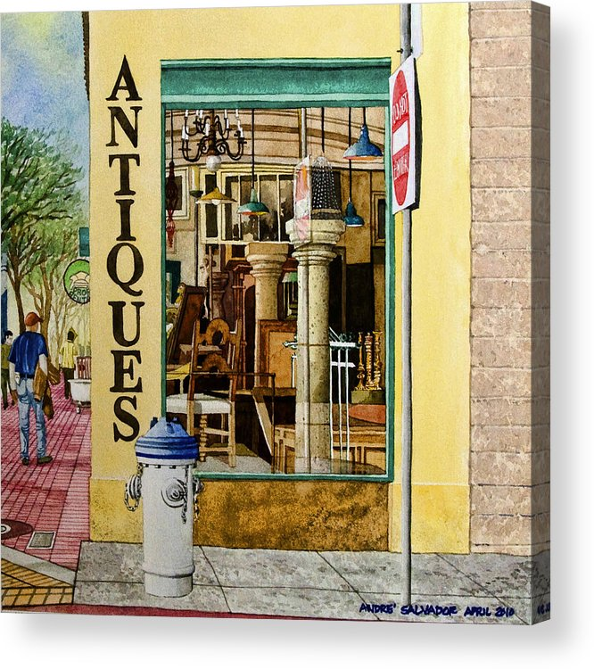Antique Store Acrylic Print featuring the painting Antiques by Andre Salvador