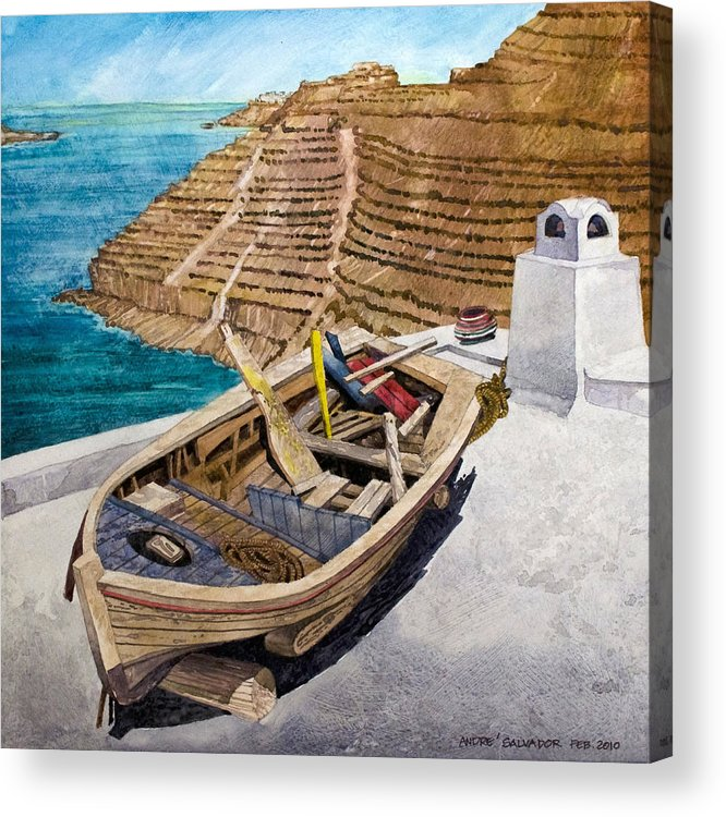 Watercolor Painting Acrylic Print featuring the painting Boat On A Roof by Andre Salvador