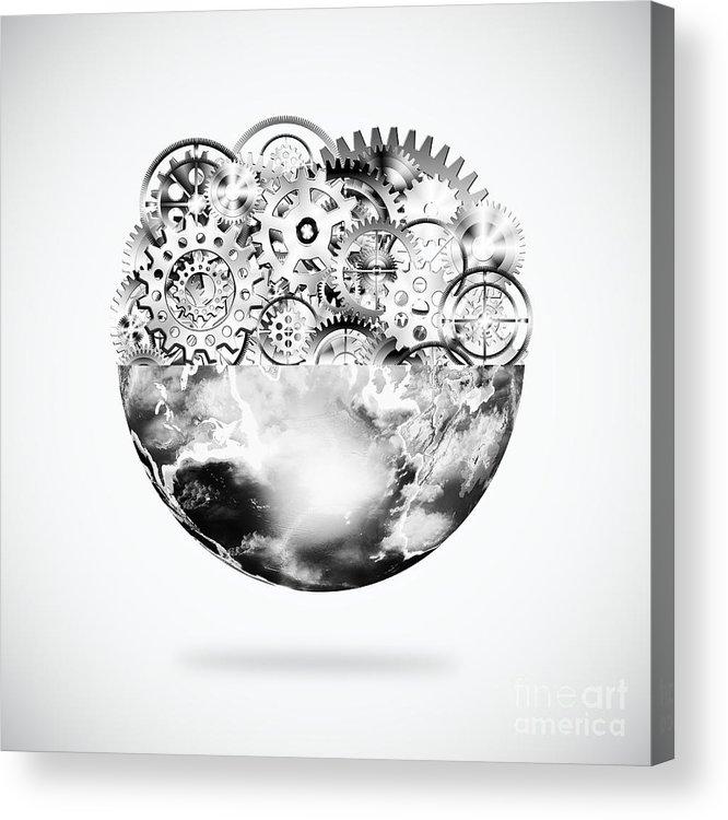 Art Acrylic Print featuring the photograph Globe With Cogs And Gears by Setsiri Silapasuwanchai