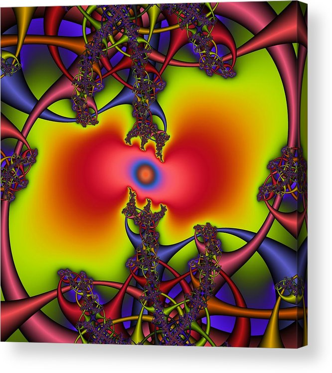 Abstract Fractal Art Acrylic Print featuring the digital art Hyper by Christy Leigh