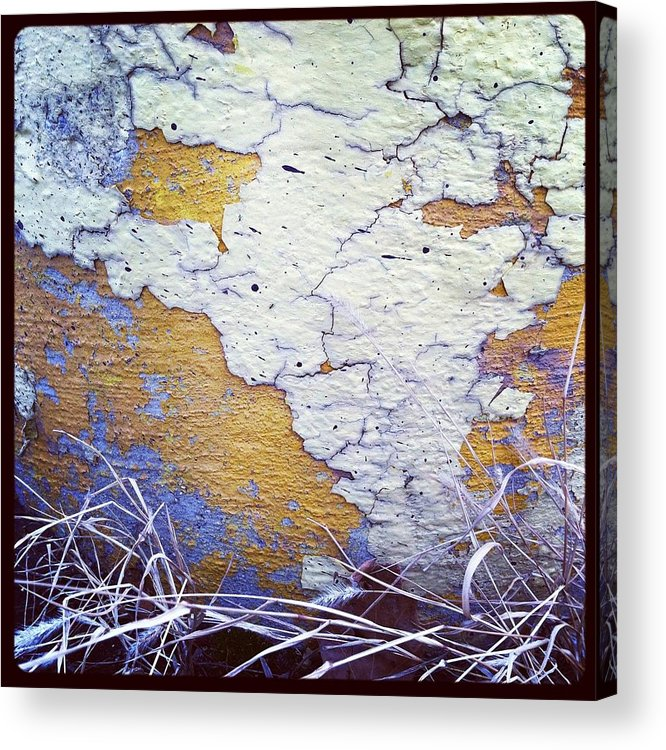 Chipping Paint Acrylic Print featuring the photograph Painted Concrete Map by Anna Villarreal Garbis