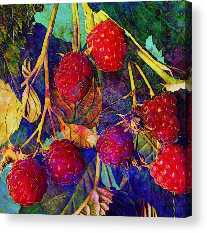 Raspberry Acrylic Print featuring the digital art Raspberries by Barbara Berney