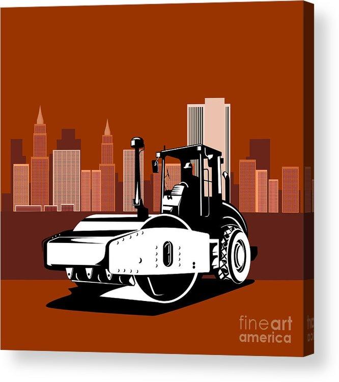 Road Roller Acrylic Print featuring the digital art Road Roller Retro by Aloysius Patrimonio