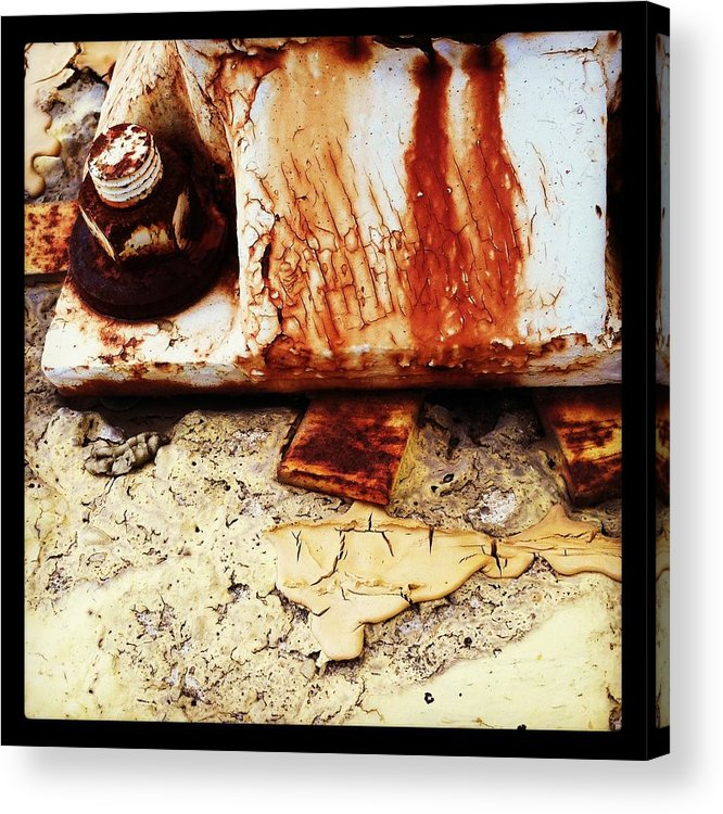 Rust Acrylic Print featuring the photograph Rusty Bolt Abstraction by Anna Villarreal Garbis