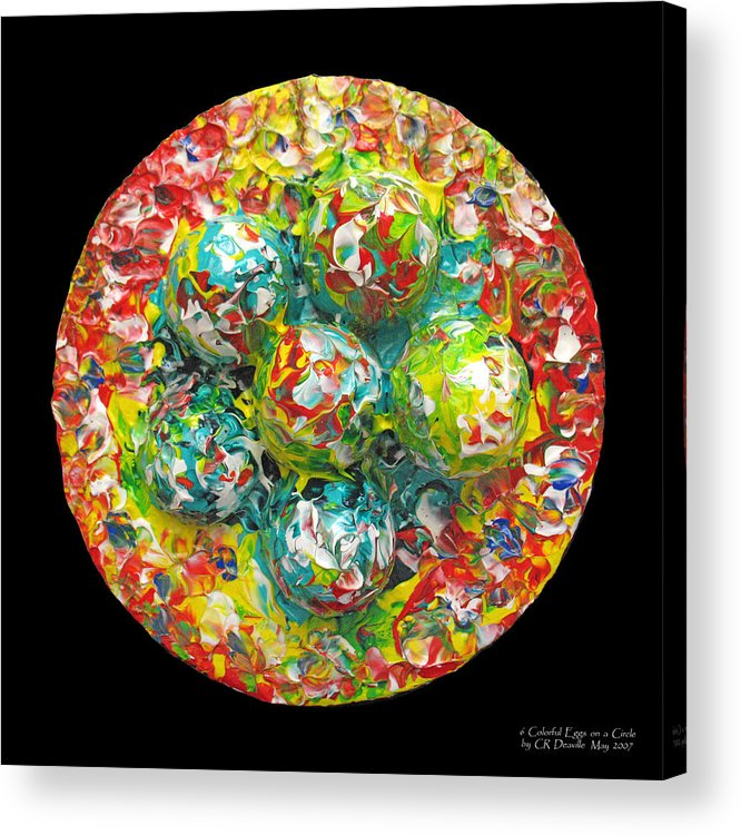 Original Acrylic Print featuring the painting Six Colorful Eggs On A Circle by Carl Deaville