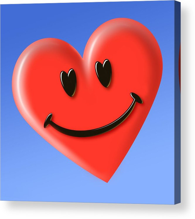 Smiley Heart Face Symbol Acrylic Print By Detlev Van Ravenswaay