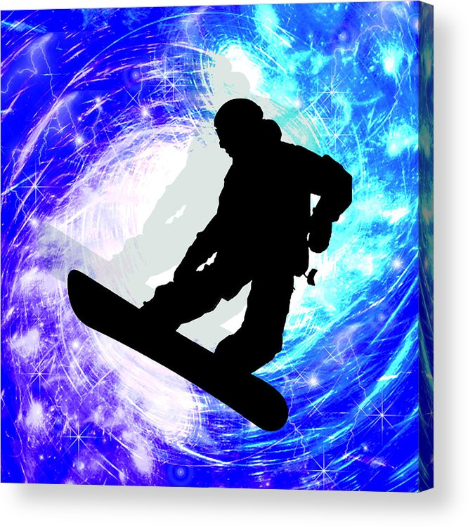 Snowboard Acrylic Print featuring the painting Snowboarder In Whiteout by Elaine Plesser