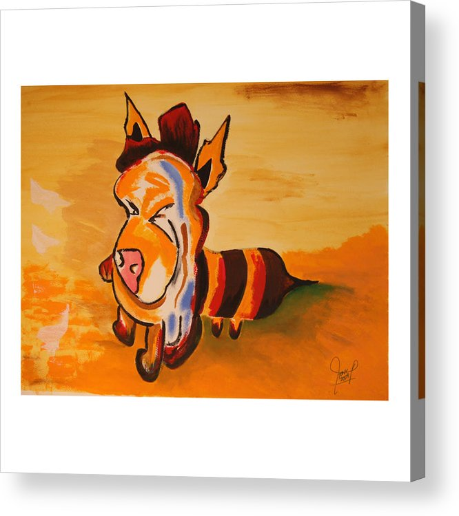 Pig Acrylic Print featuring the painting The Beepig by Tony Nilsson