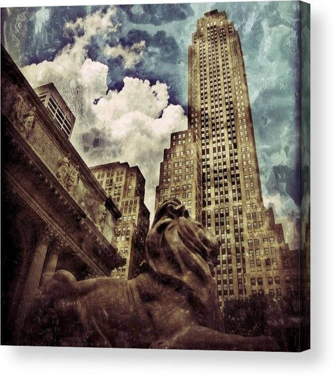 Building Acrylic Print featuring the photograph The Resting Lion - Nyc by Joel Lopez