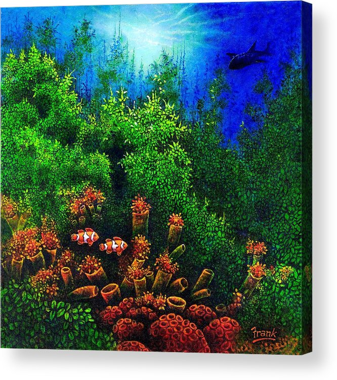 Ocean Acrylic Print featuring the painting Undersea Creatures I by Michael Frank