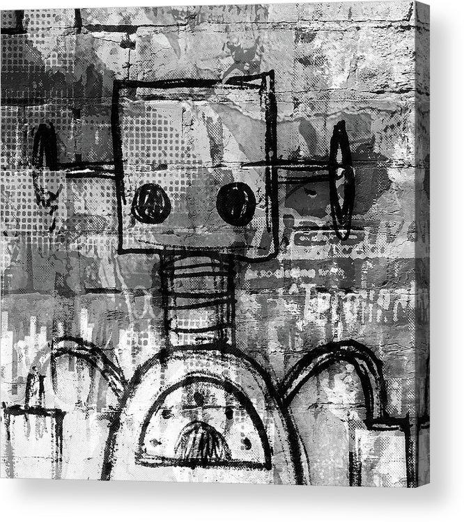 Robot Acrylic Print featuring the digital art Urban Bot by Roseanne Jones