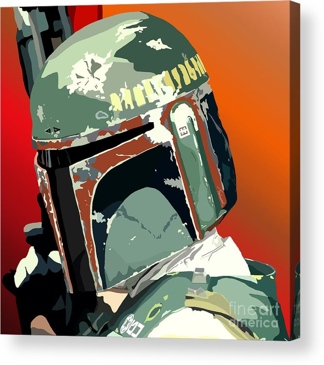 Bobba Fett Acrylic Print featuring the painting 067. He's No Good To Me Dead by Tam Hazlewood
