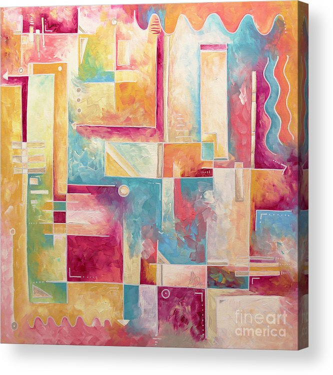 Abstract Pop Art Style Unique Pastel Painting Contemporary Art By Megan Duncanson Acrylic Print