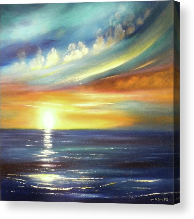 Sunset Acrylic Print featuring the painting Here It Goes - Square Sunset Painting by Gina De Gorna