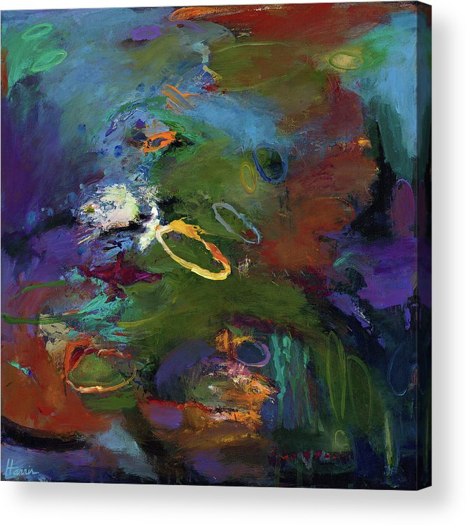 Abstract Expressionistic Acrylic Print featuring the painting Late Last Night by Johnathan Harris