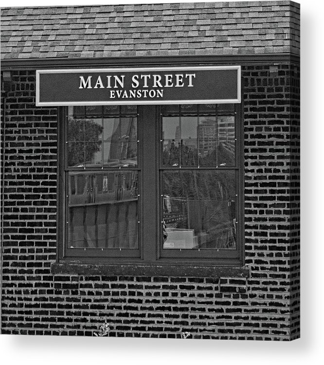 Black And White Acrylic Print featuring the photograph Main Street Station by Michael Flood