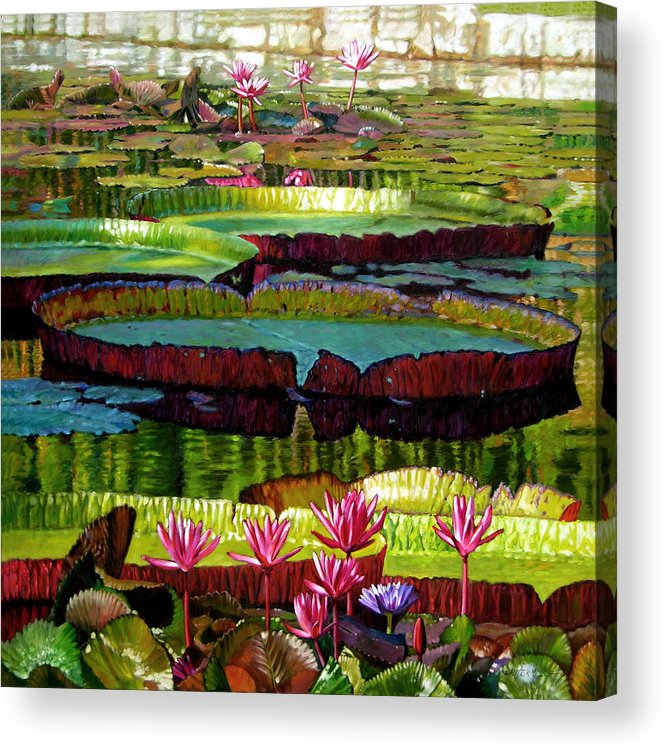 Landscape Acrylic Print featuring the painting Patterns Of Shadow And Sunlight by John Lautermilch