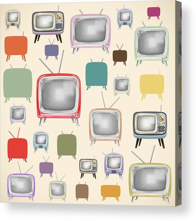 Analog Acrylic Print featuring the painting retro TV pattern by Setsiri Silapasuwanchai