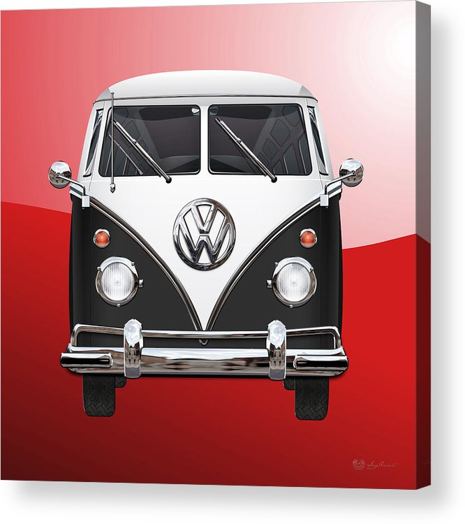 'volkswagen Type 2' Collection By Serge Averbukh Acrylic Print featuring the photograph Volkswagen Type 2 - Black And White Volkswagen T 1 Samba Bus On Red by Serge Averbukh