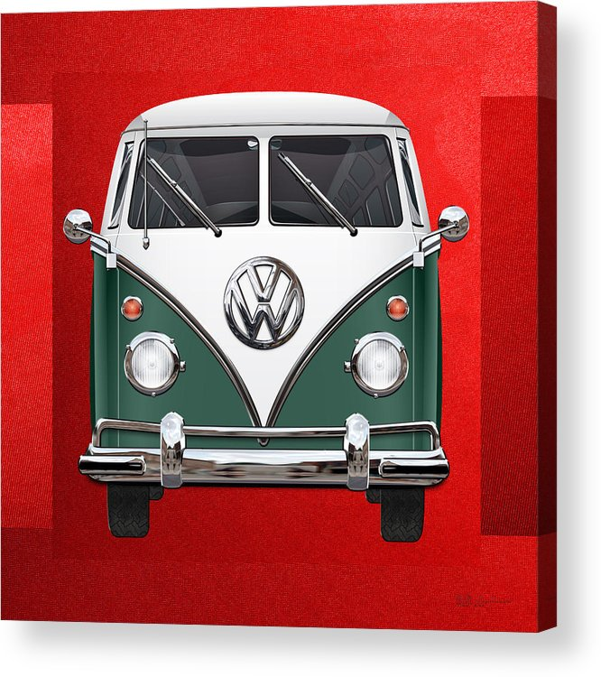 'volkswagen Type 2' Collection By Serge Averbukh Acrylic Print featuring the photograph Volkswagen Type 2 - Green And White Volkswagen T 1 Samba Bus Over Red Canvas by Serge Averbukh