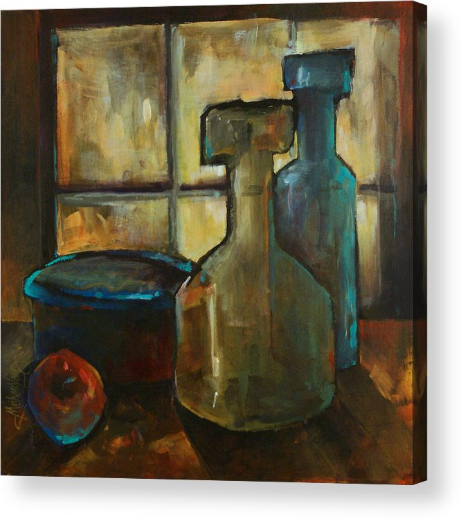 Still Life Fruit Apples Jars Bottles Dusk Lighting Mood Acrylic Print featuring the painting Waiting by Michael Lang