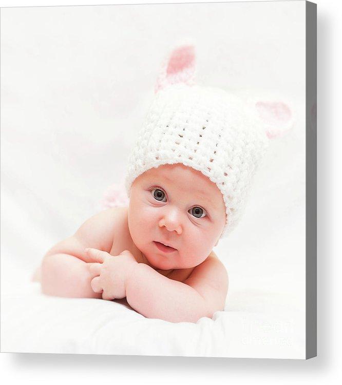 Portrait Acrylic Print featuring the photograph Cute Newborn Portrait by Gualtiero Boffi