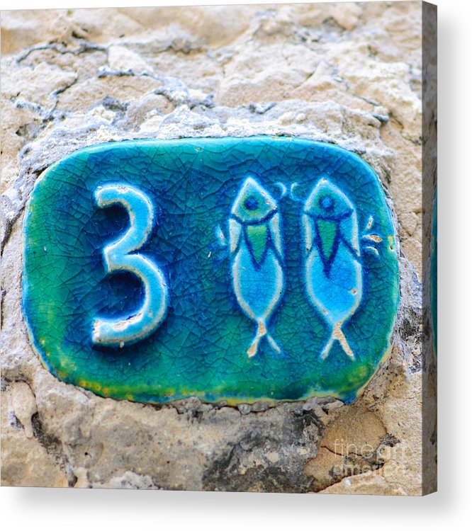 Israel Acrylic Print featuring the photograph Jaffa, Pisces Zodiac Street Sign by Ilan Rosen