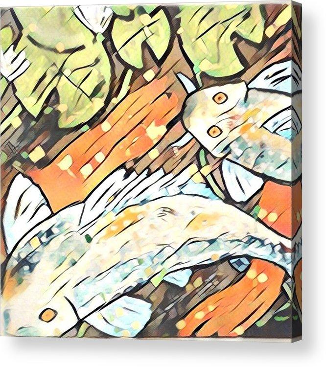 Acrylic Print featuring the digital art Koi Fish by Melinda Sullivan Image and Design