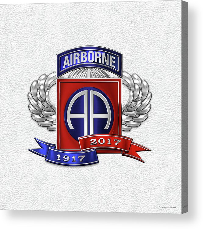 'military Insignia & Heraldry' Collection By Serge Averbukh Acrylic Print featuring the digital art 82nd Airborne Division 100th Anniversary Insignia Over White Leather by Serge Averbukh