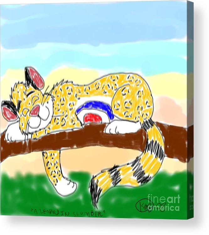 Leopard Acrylic Print featuring the digital art A Leopard In Slumber by Karli Martin
