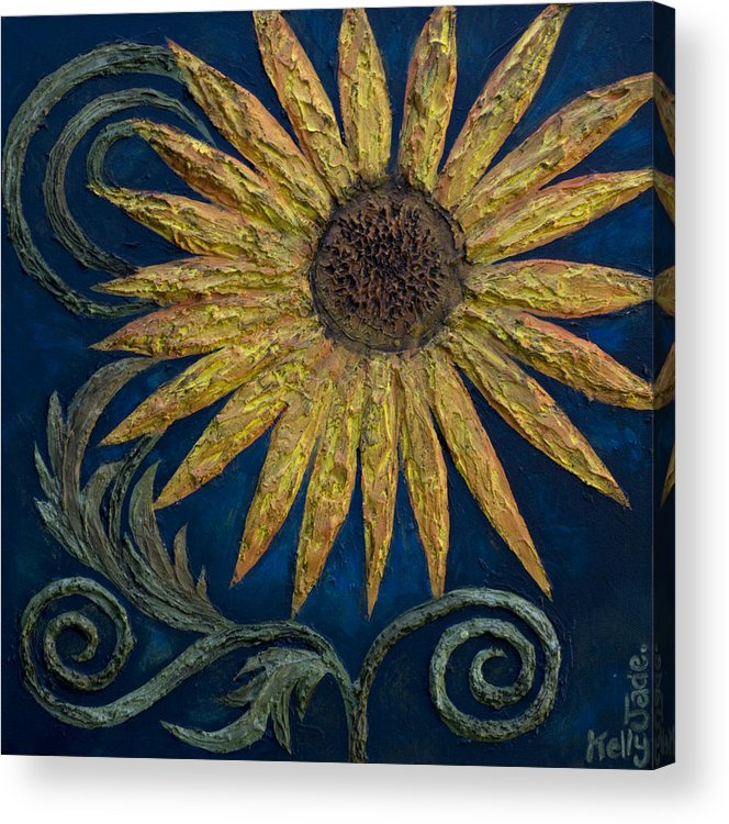 Sunflower Acrylic Print featuring the painting A Sunflower by Kelly Jade King