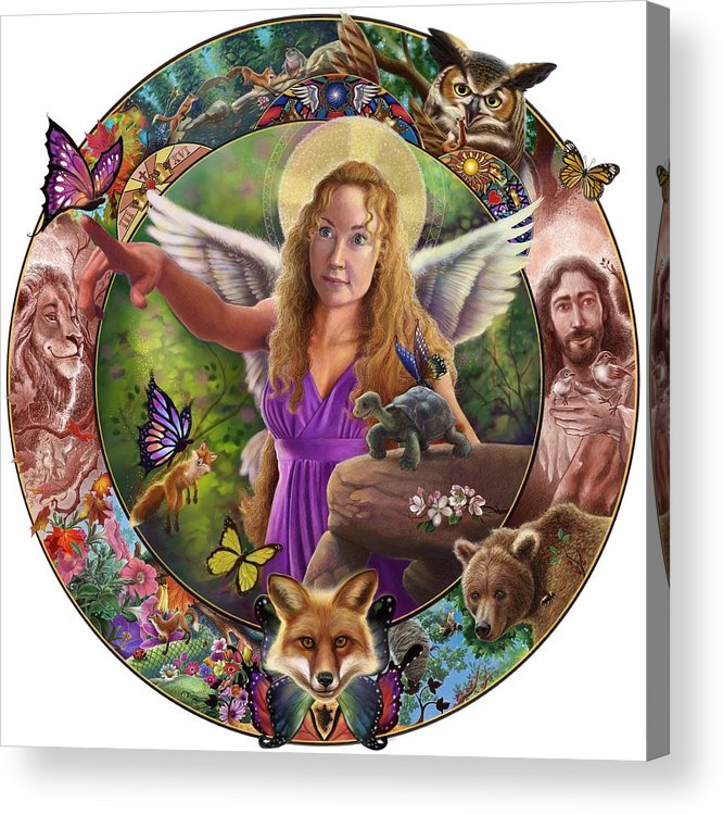 Angel Acrylic Print featuring the mixed media Angel And Fox by Timothy Riley