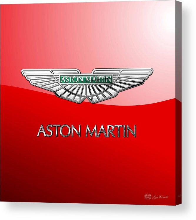 Wheels Of Fortune� Collection By Serge Averbukh Acrylic Print featuring the photograph Aston Martin - 3 D Badge On Red by Serge Averbukh