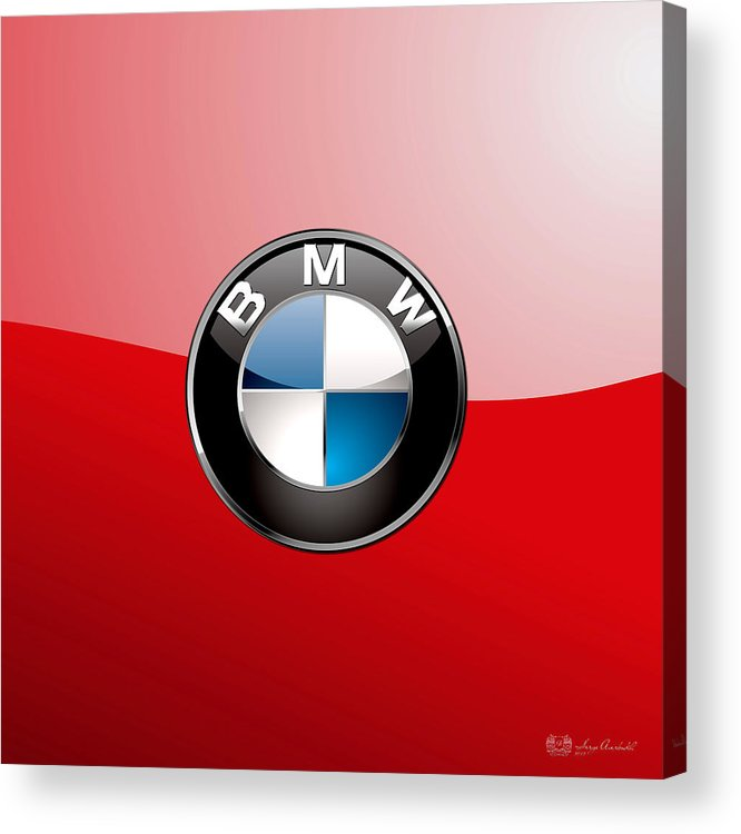 'auto Badges 3d' By Serge Averbukh Acrylic Print featuring the photograph B M W Badge On Red by Serge Averbukh