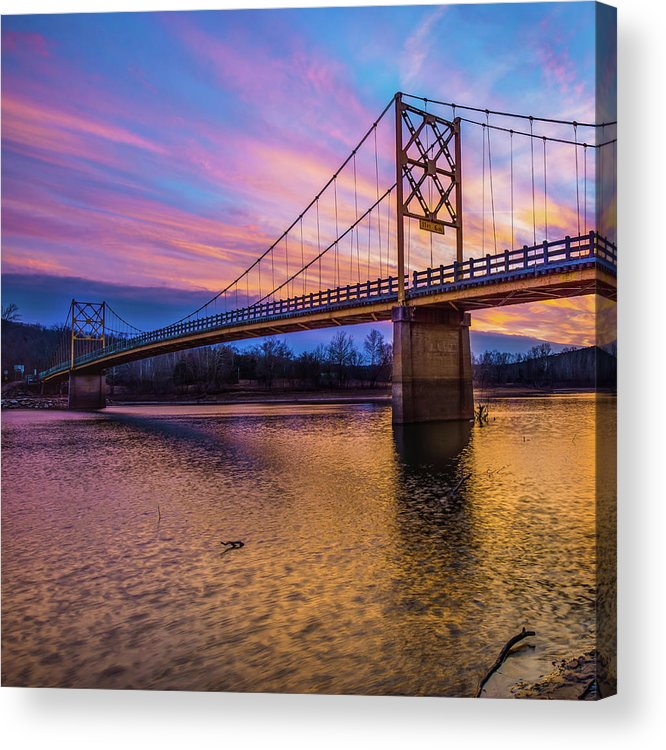 America Acrylic Print featuring the photograph Beaver Bridge Sunset - Eureka Springs Arkansas - Square Format by Gregory Ballos