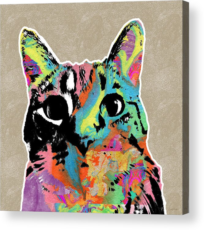Cat Acrylic Print featuring the mixed media Best Listener Kitty- Pop Art By Linda Woods by Linda Woods