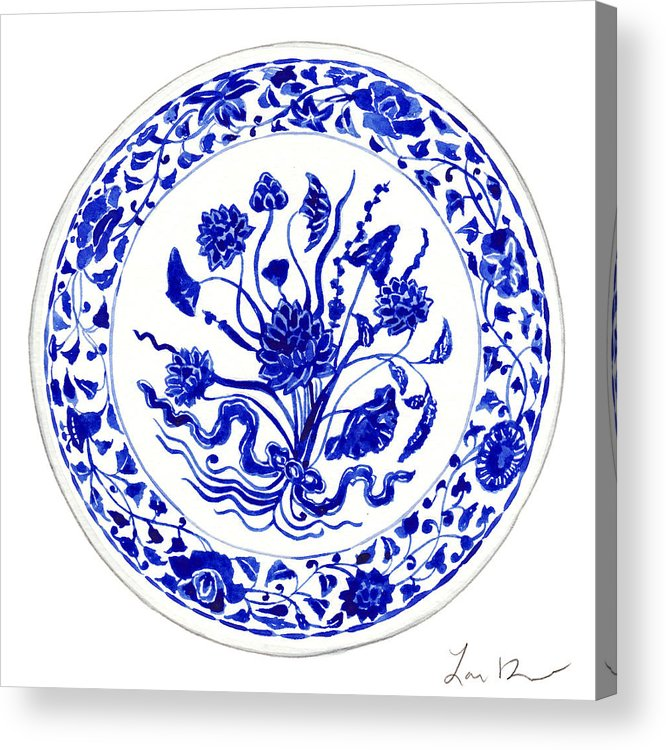 7c990777adf Blue And White China Acrylic Print featuring the painting Blue And White  Chinese Chinoiserie Plate 4