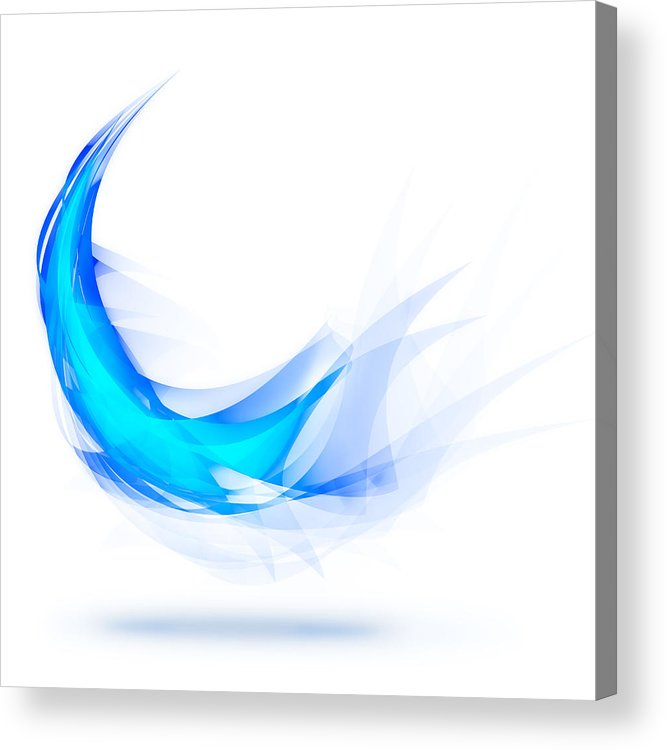 Abstract Acrylic Print featuring the painting Blue Feather by Setsiri Silapasuwanchai